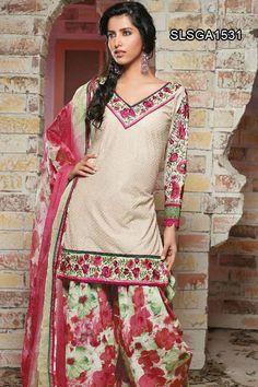 Alluring Beige Embroidered Churidar Suit   Salwar Kameez   www.cbazaar.com
