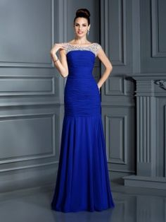 Trumpet/Mermaid Scoop Beading Sleeveless Floor-Length Chiffon Dresses