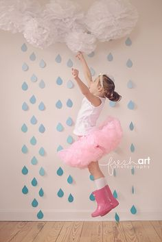 Raindrop garlands. Pom poms. Girls Spring Photo shoot. Ombre. Pink Hunter Rain Boots. Ballerina. Tutu. shower decoration www.freshartphotography.com www.paperwhitedesigns.etsy.com