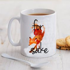 for fox sake art mug by pureinfinity on Etsy