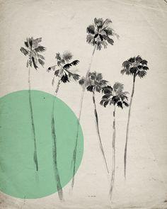 California Palm Trees  - Mint Modern Vintage Inspired Illustration by Calamaristudio on Etsy