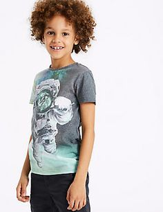 b7d4b7a5e5f1 Cotton Blend Photographic Top (3-16 Years)