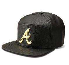 Atlanta Braves Black Gator Skin Gold Logo Snapback Hip Hop a03125606766