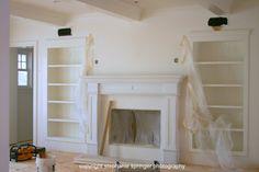 Recessed Bookshelves & fireplace