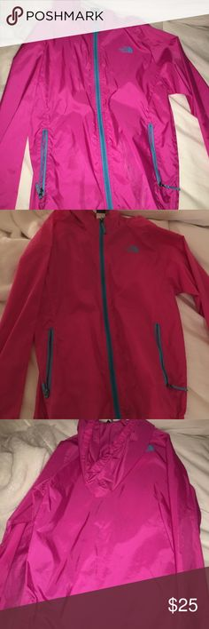 North Face Kids Raincoat Super cute rain jacket! Bright bubble gum pink with cotton candy blue accents. Amazing condition. Small stain on front but barely noticeable. Size runs big- can easily fit adult. Comes from smoke free home. North Face Jackets & Coats Raincoats