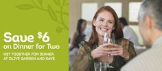 $6 off Dinner for Two at Olive Garden: You can use this coupon after 4pm only through 4/19/15 – Dine In Only.