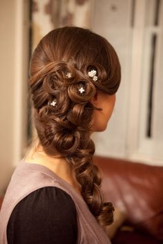 Show Me: Half-down or Side Do Inspiration for Curly Haired Girls :  wedding curly hair half down half up V