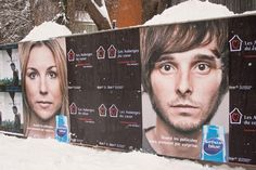 """Selson Blue Makes Good Use Of The  Winter Snow With Smart Outdoor Ads - Dandruff shampoo brand Selsun Blue decided to make good use of Montreal's snowfalls with this outdoor campaign. It's designed so that piles of snow sit at the top of the billboards, giving the models' hair a white dusting. The strapline is """"when flakes take you by surprise."""" The campaign is targeting people at the time of year when dandruff can be worst because of dry air & heating."""