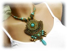 Bead embroidered necklace - Egypt - green, gold, turquoise - pharaoh's treasury - OOAK. $87.00, via Etsy.