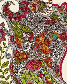 Zentangle style flowers line drawing