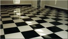 Pictures of Concrete Flooring Surface Treatments: Black And White Checkerboard Concrete Flooring