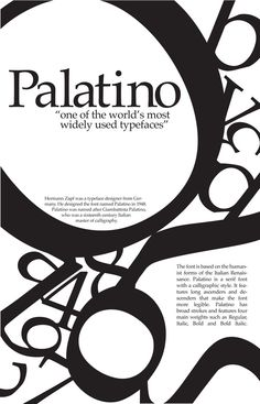 Poster for Palatino typeface