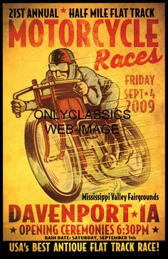 vintage harley motorcycle race posters - Google Search