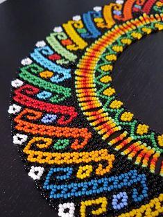 OKAMA Embera Chamí | Etsy Beaded Tassel Necklace, Seed Bead Necklace, Loom Beading, Beading Patterns, Diy Necklace Patterns, Seed Bead Art, Beadwork Designs, Fabric Beads, Beaded Ornaments
