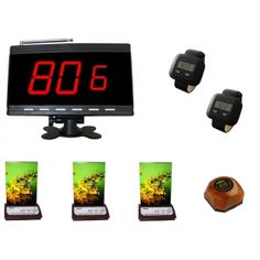 Wholesale SINGCALL.Emergency Call System,Pack of 1 pc Kitchen Button,3 pcs Menu Button with Service,1 pc of Display and 2 pcs of Watch Receiver. [9600B-6600-730W-560M_1-2-3-1N]- US$299.99 - singcall.com