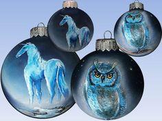 CUSTOM Hand Painted Christmas Ornament, Christmas ball, Eagle Owl Unicorn Horn Owl Bird of Minerva Glass New year Christmas Craft, Gift SOLD