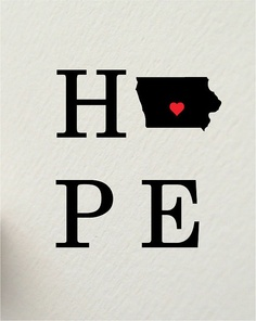 LOVE & HOPE IOWA  digital print set  8 x 10'' by hunterandsmile, $30.00