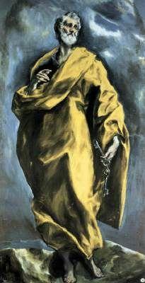 Saint Peter - El Greco.  1610-13.  Oil on canvas.  209 x 106 cm.  Monasterio de San Lorenzo de El Escorial, Madrid, Spain.