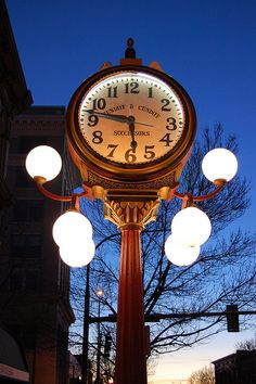 falkenberg's clock...  A lit Walla Walla Main Street clock at sundown, outside Falkenberg's Jewelers. the clock was built in 1906