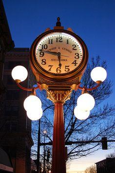 falkenberg's clock...  A lit Walla Walla Main Street clock at sundown, outside Falkenberg's Jewelers. the clock was built in 1906