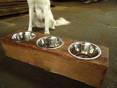 Wood Dog Dish Holder reclaimed barn beam 3 BOWL by VintageLumber, $90.00