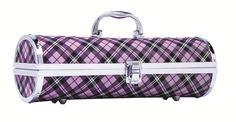 Purple gingham wine purse