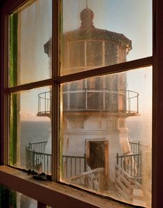 """Lighthouse seen through equipment building where fog horns and other technology kept the light and horns functioning. This lighthouse was featured in """"The Fog"""" (1980) with Jaime Lee Curtis"""