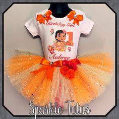 Baby Moana Inspired Personalised Birthday Girls Tutu Outfit Cake Smash - 8-9