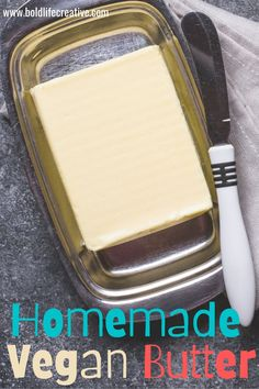 Creamy and delicious homemade vegan butter! An easy 7-ingredient recipe that is spreadable, melts perfectly on toast and is great for baking and frying.Vegan & Gluten-Free Optional Recipes For Beginners, New Recipes, Easy Recipes, Holiday Recipes, Easy Meals, Tasty Vegetarian Recipes, Nutritional Yeast, Vegan Butter