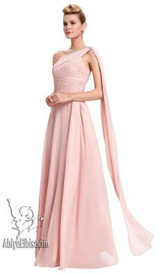 uzun abiye elbise  pembe şifon,abiye elbise,uzun abiye,ucuz abiye,mezuniyet elbisesi,online elbise