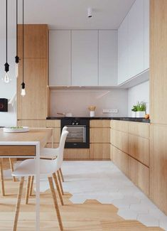 Having a small kitchen doesn't mean that you can't do anything with it. You can still have a comfortable and stylish cooking area as long as you can choose the best kitchen interior wood 15 Adorable Interior Design Ideas for Small Kitchen - PAGUPONKU Kitchen Room Design, Kitchen Cabinet Colors, Modern Kitchen Design, Home Decor Kitchen, Interior Design Kitchen, New Kitchen, Home Kitchens, Kitchen Ideas, Kitchen Cabinets