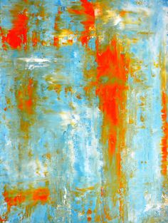 Top It Off, 2013 - Artwork Modern Contemporary Abstract Painting Wall Decor Free Shipping Teal Orange White 11x14 12x18 16x20 Print