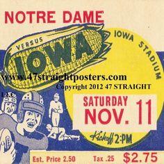 Iowa Football gifts! 1939 Notre Dame vs. Iowa football ticket coasters.