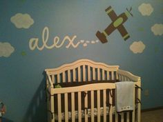Baby Boy Nursery with Airplane Boy Decor, Baby Room Decor, Baby Boy Rooms, Baby Boy Nurseries, Baby Baby, Baby Kids, Airplane Nursery, Man Room, Fashion Room