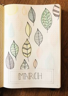 March bullet journal title page using brush pens and watercolours. Created by StarRhiBuJo