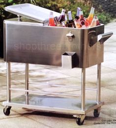 Attractive New Big Rolling Stainless Steel Party Cooler 80 Quart Patio Deck Ice Box  Chest