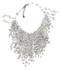 Cascade of lustrous freshwater and cultured pearls. Over a dozen strands of different lengths.