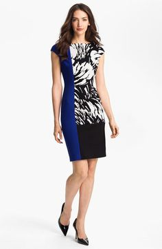 Colorblock sheath #vestido #tubinho #colorblock #estampa #azul #preto
