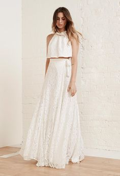 Two piece wedding dress by Reformation