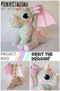 Project 043 Orbit the Dragon s Expansion Pack Add-ons for the popular dragon crochet-along Add wings open eyes and other new feature to your favorite dragon Orbit the Dragon Crochet Gratis, Crochet Patterns Amigurumi, Cute Crochet, Crochet For Kids, Crochet Dolls, Easy Crochet, Crochet Eyes, Crotchet, Crochet Dragon Pattern
