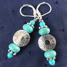 Turqoise and Silver Earrings by GemstoneJewelrybyVal on Etsy, $14.00