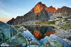 Terycho hut in the HighTatras, and mount Prostredný Hrot High Tatras, Half Dome, Mountains, Places, Nature, Travel, Live, Art, Craft Art