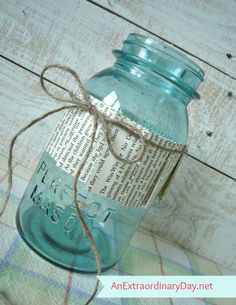 Mason Jar Makeover :: Pleated Collar Tutorial :: Book Pages :: AnExtraordinaryDay.net
