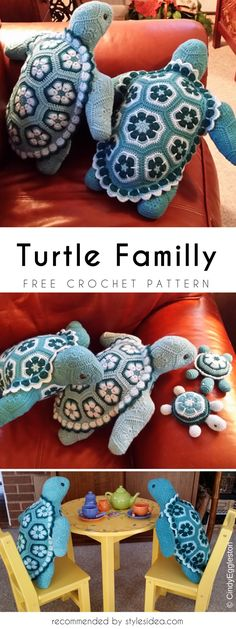 Turtles Familly Free crochet Patterns crochet Baby turtle #freecrochetPatternsamigurumi #amigurumiturtles #freepatterns #freecrochetPatternsforturtles #Baby #Crochet #Turtles #FreePattern