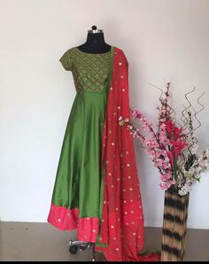 Love the cut and colour . a creation of peach design boutique Indian Gowns, Indian Attire, Indian Outfits, Churidar Designs, Lehenga Designs, Salwar Pattern, Frocks And Gowns, Long Dress Design, Golden Dress