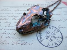 Real gecko skull necklace Copper Electroformed $110.00 By Shannon Amidon