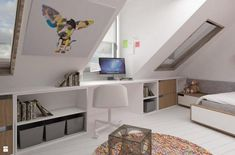 Attic Bedroom Master - Gisella P. Loft Room, Bedroom Loft, Kids Bedroom, Bedroom Ideas, Kura Ikea, Loft Conversion Bedroom, Loft Storage, Slanted Walls, Attic Bedrooms