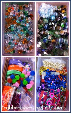 "rubberboots and elf shoes: organizing sensory bin ""stuff"""