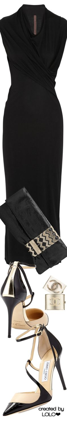 Rick Owens Dress | Jimmy Choo Shoes and Clutch | Chanel Cuffs | LOLO