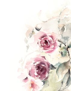 Roses Watercolor Painting Art Print, Pink Green Floral Modern Watercolour Art
